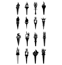Fire torch icons set vector image