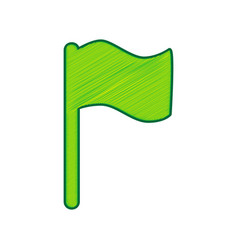 flag sign lemon scribble vector image
