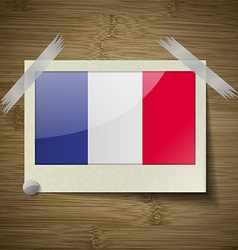 Flags Frence at frame on wooden texture vector image