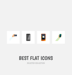 flat icon smartphone set of smartphone chatting vector image