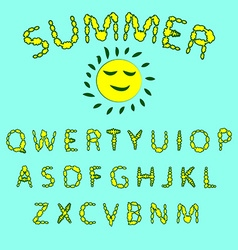 Floral summer font Red and yellow colors of the vector