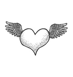 flying heart symbol with wings sketch vector image
