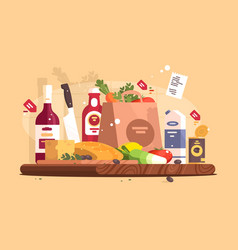 Food and ingredients for cooking vector