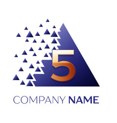 Golden number five logo in the blue pixel triangle vector