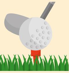 golf club ball on a tee grass sport vector image