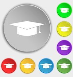 Graduation cap icon sign Symbol on eight flat vector image
