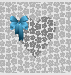 gray heart with a blue bow vector image vector image