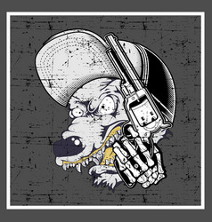 grunge style wolf wearing cap and holding gun vector image