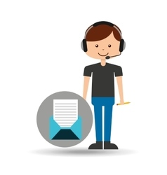 Guy operator help service email vector