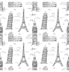 hand drawn seamless pattern with sights europe vector image