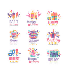 happy birthday logo design set colorful creative vector image