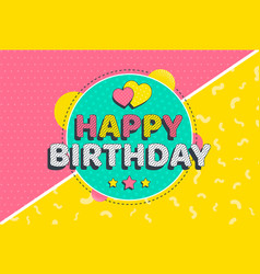 happy birthday poster design in halftone style vector image