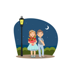 happy boy and girl walking in park at night vector image