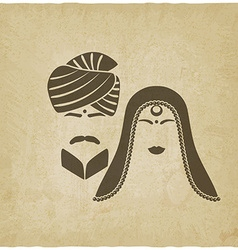 Indian man and woman in traditional clothes vector image