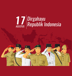 Indonesian independence banner with saluting vector