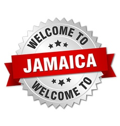 Jamaica 3d silver badge with red ribbon vector