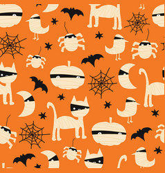 kids halloween mummy background seamless vector image