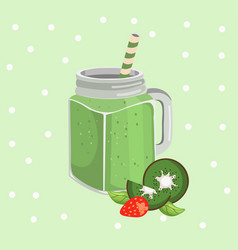 kiwi smoothie fresh drink retro style vector image