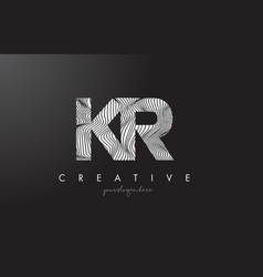 kr k r letter logo with zebra lines texture vector image