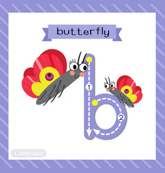Letter b lowercase tracing colorful butterfly vector