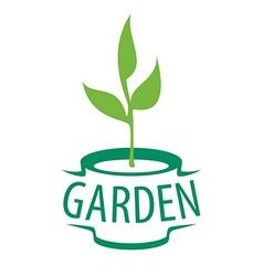 Logo sapling in a pot for garden vector