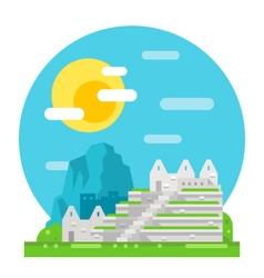 Machu Pichu flat design landmark vector image