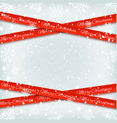 merry christmas red banners on winter background vector image
