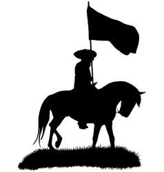 mexican cowboy riding a charro horse with flag vector image