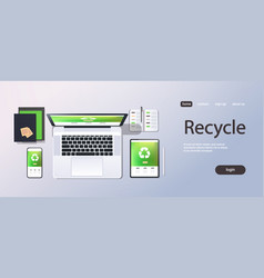 mobile computer recycle application recycling vector image