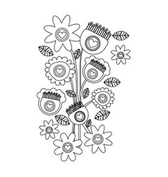 Monochrome background with bouquet of retro vector