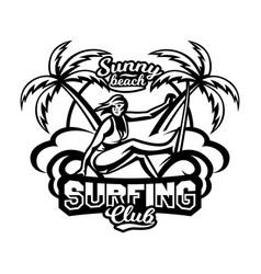 Monochrome logo emblem girl surfer surfing on vector