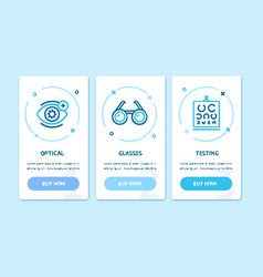 ophthalmology and optometry app screens web vector image