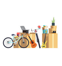Paper cardboard boxes with various household thing vector