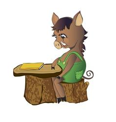 Pig wild boar sits at a school desk vector