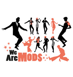 pop and soul dance clipart collection set mods vector image