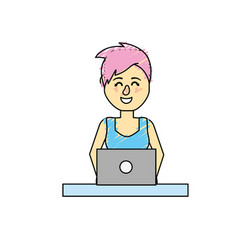 Profesional businesswoman with laptop and vector