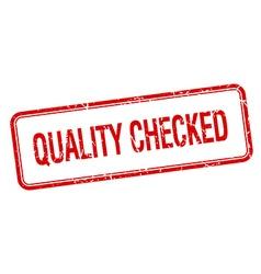 Quality checked red square grungy vintage isolated vector