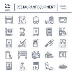 Restaurant professional equipment line icons vector