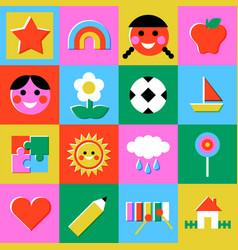 retro children game mosaic seamless pattern vector image