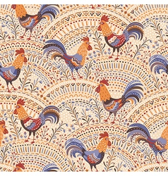 roosters pattern beige vector image