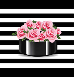 roses bouquet on striped background vector image