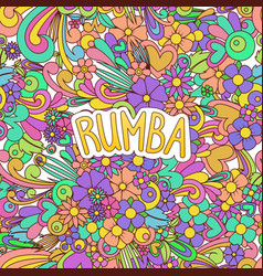 Rumba tangle doodle dance background with flowers vector