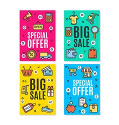 sale flyer banner posters card set vector image