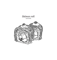 salmon sushi roll hand draw sketch vector image