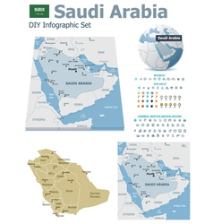 Saudi Arabia maps with markers vector image