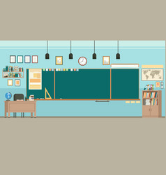 School classroom with chalkboard study class vector