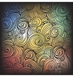 Seamless dark abstract hand-drawn waves pattern vector image