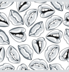 seamless pattern with silver lips vector image