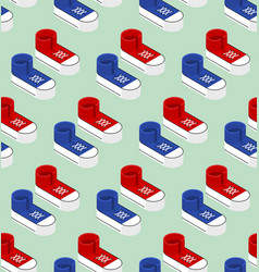 Seamless pattern with sneaker shoe trainers in vector
