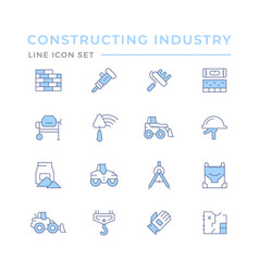 set color line icons constructing industry vector image